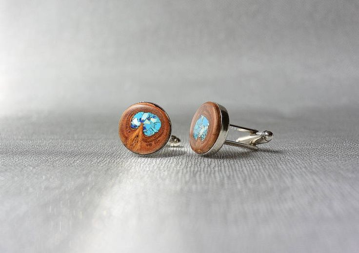 Cufflinks from plum tree inlaid with turquoise and lapis-lazuli, wooden cufflinks, wooden cufflinks with turquoise and lapis-lazuli inlay by Mazunii on Etsy