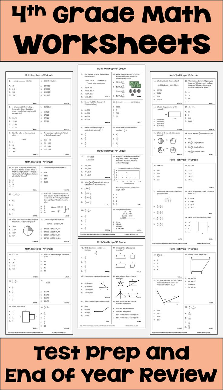 4th Grade Math Review Worksheets for Distance Learning