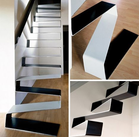 suspended steel ribbon staircase prague