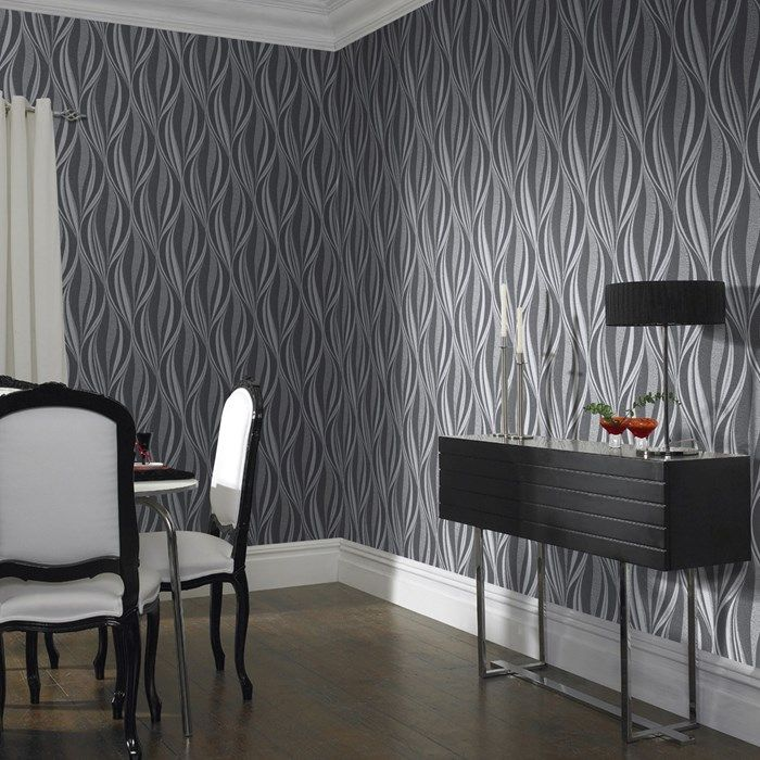 Tango Charcoal/Silver Wallpaper by Graham and Brown