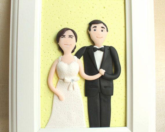 3D custom clay couple portrait - custom clay wedding gift portrait - by NicomadeMe