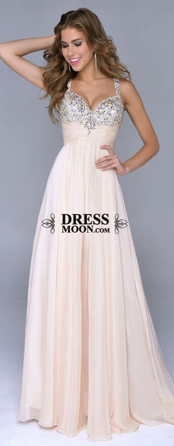 Spaghetti Gown V Neck Shinning Beadings With Beaded Bodice Prom Dress #promdress #balldress