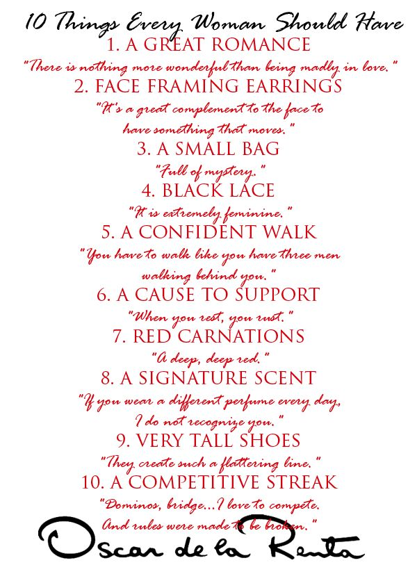 10 Things Every Woman Should Have - Oscar de la Renta