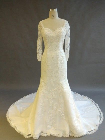 Tulle V-neck Trumpet/Mermaid Court Train with Appliques Lace Wedding Dresses #UKM00022898
