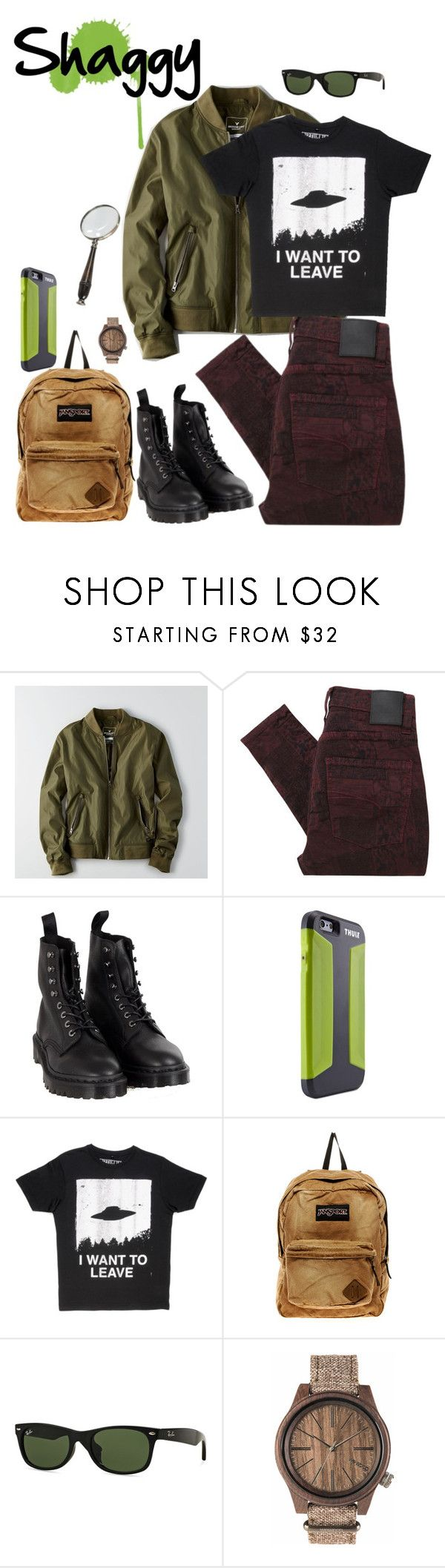 """""""Norville """"Shaggy"""" Rogers pt.1"""" by krhymell ❤ liked on Polyvore featuring American Eagle Outfitters, Nobody Denim, Dr. Martens, Thule, JanSport, Ray-Ban, Authentic Models, men's fashion and menswear"""