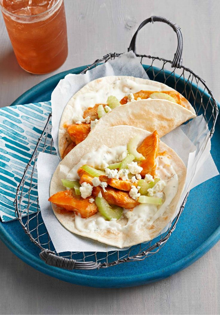 Buffalo Chicken Tacos – If they like Buffalo wings and they like Tex-Mex, try these tasty tacos. They're made with strips of tender boneless chicken breasts and all the fixins!