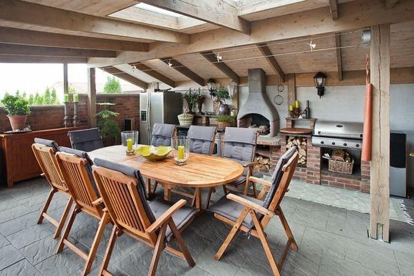 barbecue fixe couvert avec fenêtres de toit