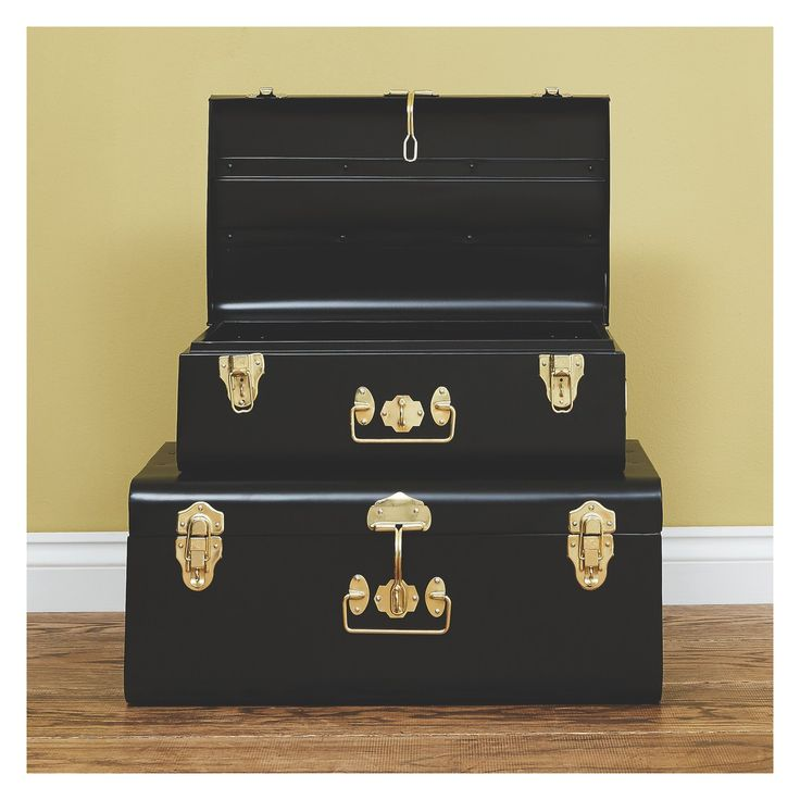 TRUNK Black metal storage trunk | Buy now at Habitat UK