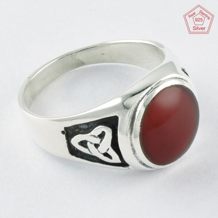 Silvex Images - Carnelian Stone 925 Sterling Silver Men's Ring R4278, Sz.12 US #SilvexImagesIndiaPvtLtd #Statement #AllOccasion