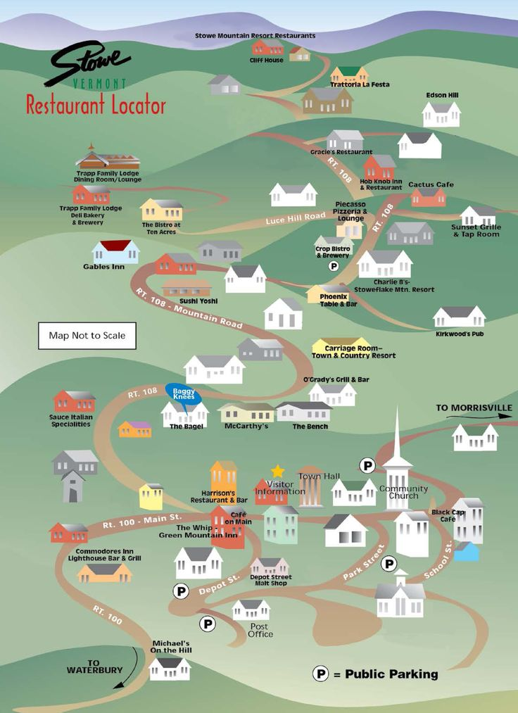 Stowe Vermont Dining Map