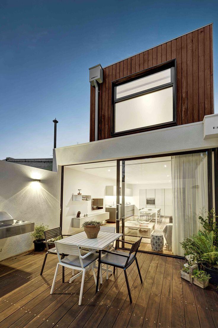 Construction & Interiors / Fitzroy Residence / Sliding Door / Deck / Spotted Gum Cladding / Indoor Outdoor Living