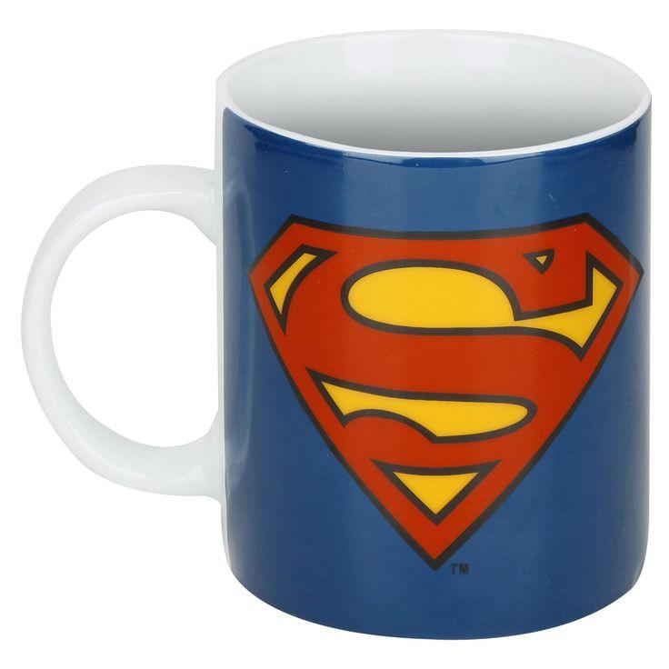 """Tazza in ceramica bianca """"Logo"""" di #Superman con stampa. Compatibile con lavastoviglie e microonde."""
