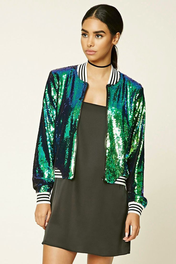 Two-Toned Sequin Bomber Jacket | Forever 21 - 2000233824