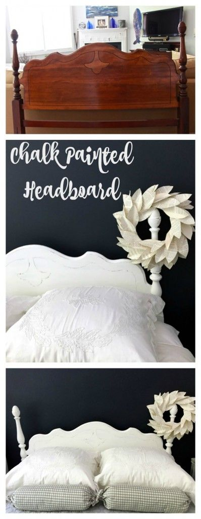 Chalk Painted Headboard – Cottage Style. Pure White Chalk Paint. Annie Sloan Pure White Chalk Paint. Painted Headboard for lake house. Headboard makeover.