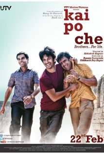 @timesofindia's Movie Review: Kai po che! (2013) Critic's Ratings: 4/5 stars, Readers': 4.5/5...Director: @AbhishekKapoor; Based on @Chetan_Bhagat's 2008 Book: 'The 3 Mistakes of My Life'; Produced by @utvfilms Cast: Raj Kumar, Sushant Singh Rajput, Amit Sadh, Amrita Puri...A brilliant 'Coming if Age', Buddy Film  based in Ahmedabad, Gujarat. Site: http://www.utvgroup.com/motion-pictures/coming-soon/kai-po-che.html Wiki: http://en.wikipedia.org/wiki/Kai_Po_Che! ~