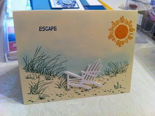 Escape stamped card...with photo paper die cut lounge chair. Scrap Rx