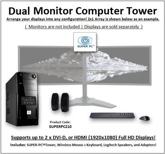 SUPER PC | Dual Display Mid-Tower | 5th Gen Intel Core i7 Six-Core CPU  Use the following Coupon Code during Checkout: VPC5PO  3.4Ghz Intel Core i7 Six-Core CPU (3.6Ghz Turbo) 32GB of DDR4 PC4-19200 (2400Mhz) RAM Memory AMD Radeon R9 380 2GB GDDR5 256-bit Graphics Virtual Reality Ready and Compatible System 1TB SSD (Solid State Drive) 500MB/s Read & Write Windows 10 Professional 64-Bit w/ Factory Restore Disc Blu-Ray/DVD/CD/RW Optical Disc Drive and Burner All-In-One Flash/Digital Media Card…