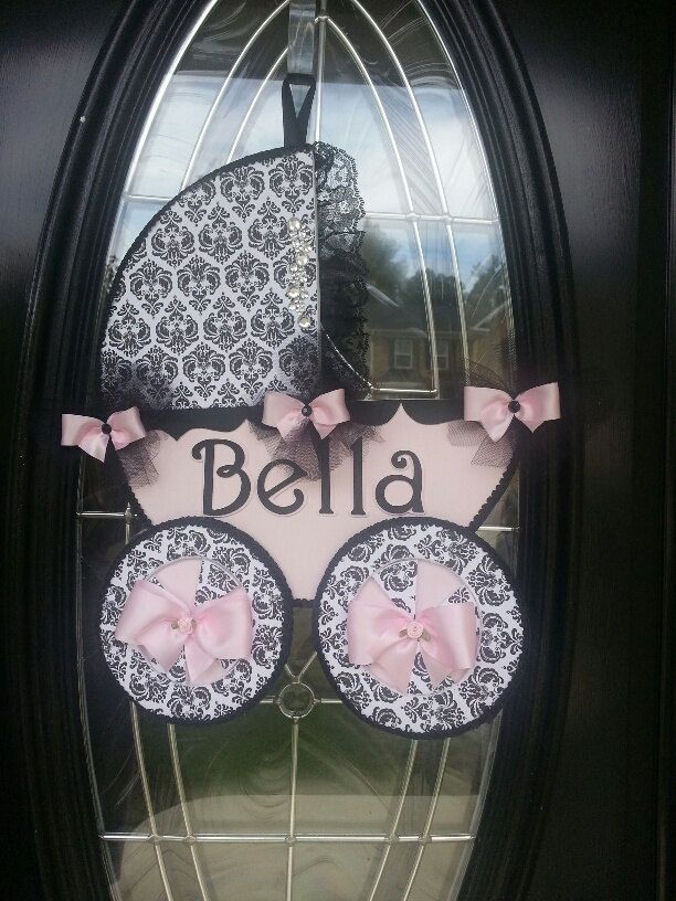 Baby Carriage Door Hanger / Baby girl Door by TheCarriageShoppe, $19.00