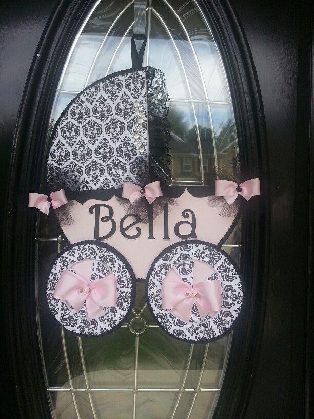 Baby Carriage Door Hanger / Baby girl Door by TheCarriageShoppe, $19.00