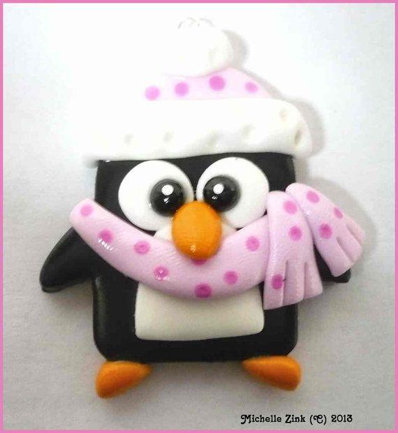 Polymer Clay Charm Pendant Winter Penguin in por michellesclaybeads