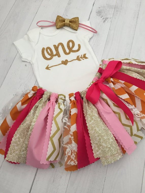 Pink, Orange and Gold Birthday Outfit with Gold Bow Headband, Arrow Bodysuit, First Birthday Outfit/