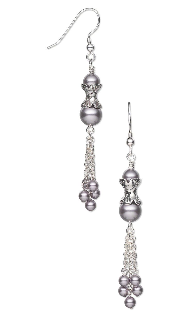 Jewelry Design - Earrings with Swarovski Crystal Pearls, Antiqued Sterling Silver Beads and Sterling Silver Chain - Fire Mountain Gems and Beads