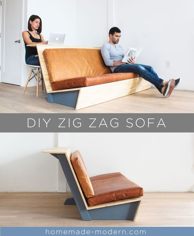 This DIY Zig Zag Sofa was designed specifically for lofts and has a built-in