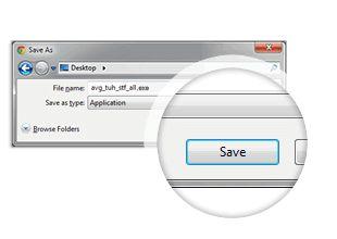 Krok číslo jedna při instalaci aplikace AVG PC TuneUp, tlačítko Uložit
