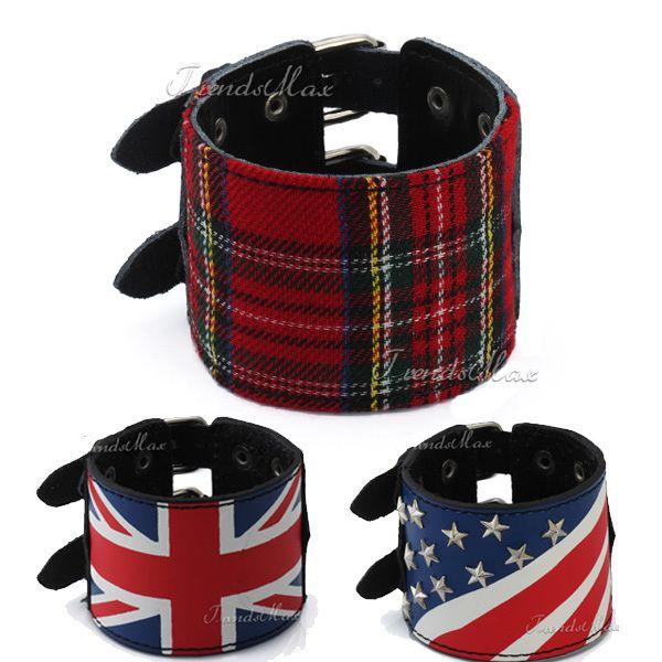 Кожаный браслет панк черный великобритания / великобритания сша / американский шотландский тартан плед браслет шпильки пряжка регулируемые женщин людей LBM11