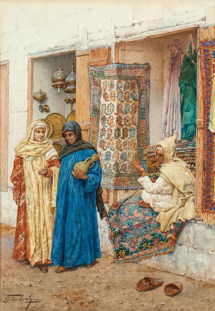 Giulio Rosati (1858-1917 Italian) :: Arabian street scene, signed lower left: Giulio Rosati, watercolor on paper under glass, sight size: 19.75'' H x 13.75'' W - est:$10,000/15,000