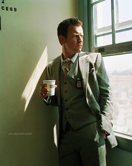 Ewan McGregor, three piece suit, coffee.
