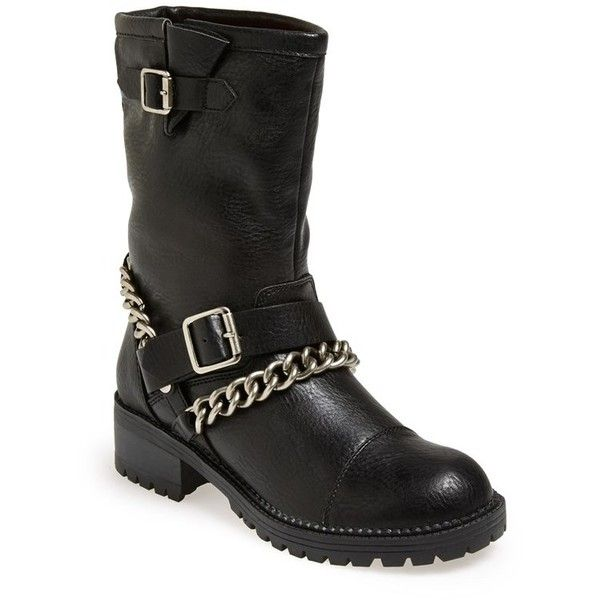 Women's Kendall & Kylie Madden Girl 'Bedforrd' Chain Wrapped Biker... (€87) ❤ liked on Polyvore featuring shoes, boots, ankle booties, strap boots, biker boots, biker style boots, bootie boots and bike booties