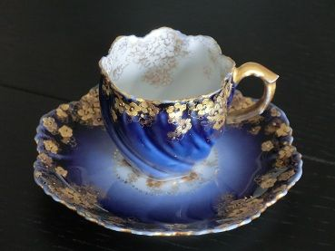 Tiny Demitasse Cup and saucer.  A.L.Limoges France 1890-1914 .  Warm childhood memories