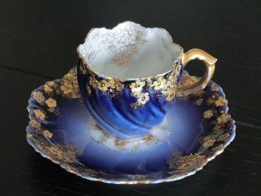 4:00 Tea...Limoges...Fabulous Cobalt and Gold Gilt demitasse cup and saucer, France 1890-1914