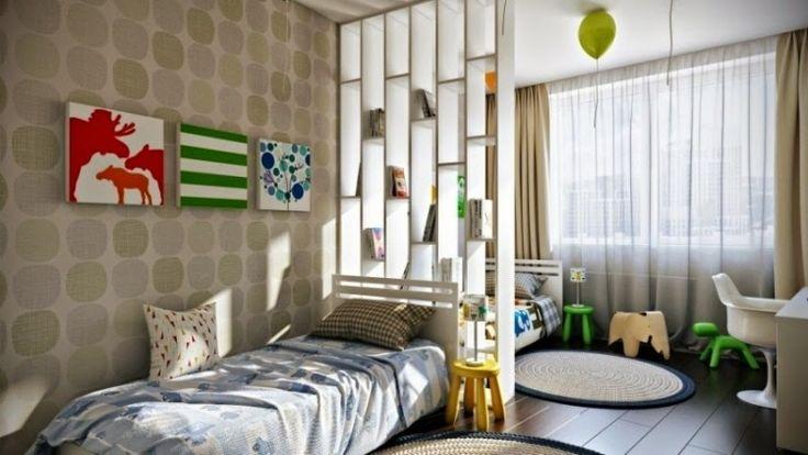 idée séparation pièce chambre enfant avec deux lits jumeaux et cloison