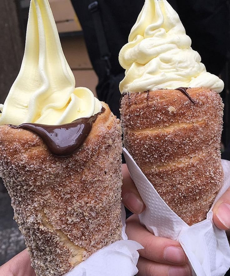 Donut Ice Cream Cones | The pastry-based ice cream delivery device is a take on a Slovak pastry that involves grilled dough, walnuts, and of course a heaping helping of sugar. GOOD FOOD COFFEE bakery in Prague. #refinery29 http://www.refinery29.com/2016/02/104304/donut-ice-cream-cones
