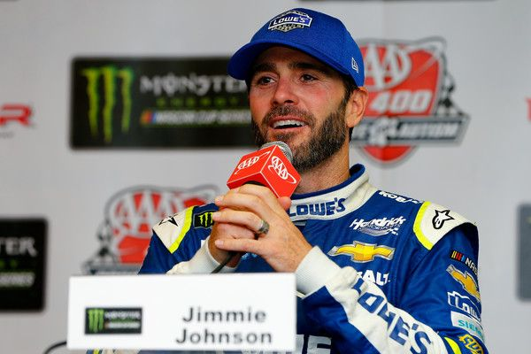 Jimmie Johnson Photos Photos - Jimmie Johnson, driver of the #48 Lowe's Chevrolet, answers questions from the media after winning the Monster Energy NASCAR Cup Series AAA 400 Drive for Autism at Dover International Speedway on June 4, 2017 in Dover, Delaware. - Monster Energy NASCAR Cup Series AAA 400 Drive for Autism