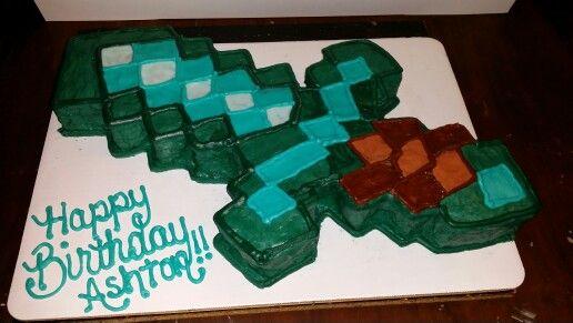 Mine Craft Diamond Sword Cake I Made Minecraft Cake
