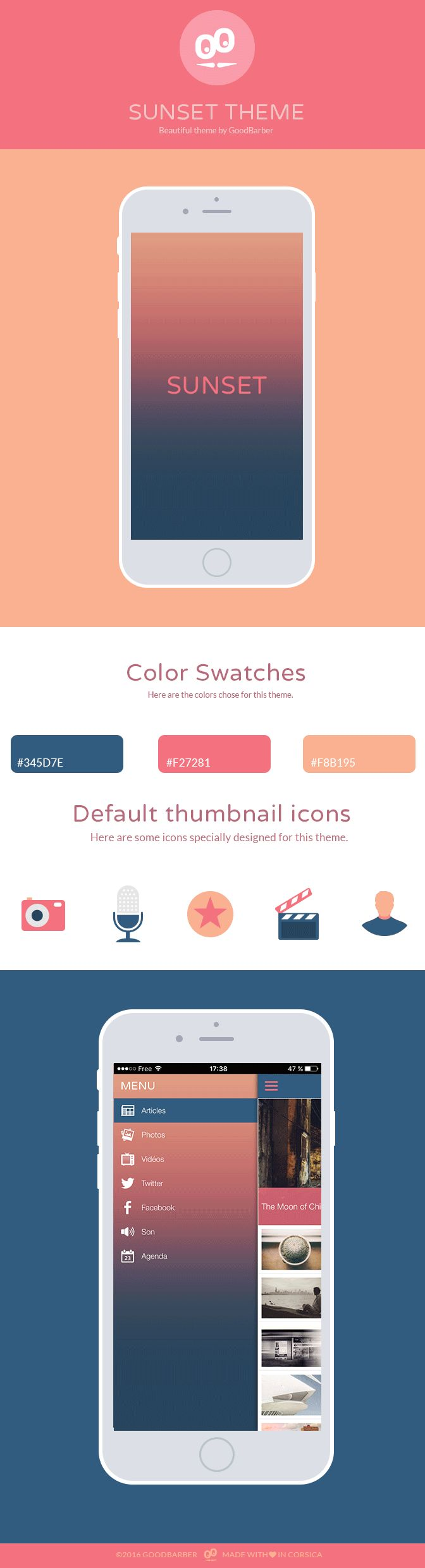 Sunset is one of the 50+ themes available in your GoodBarber backend. Use it as a starting point to create your Beautiful App #Design #Theme #AppDesign #mobiledev