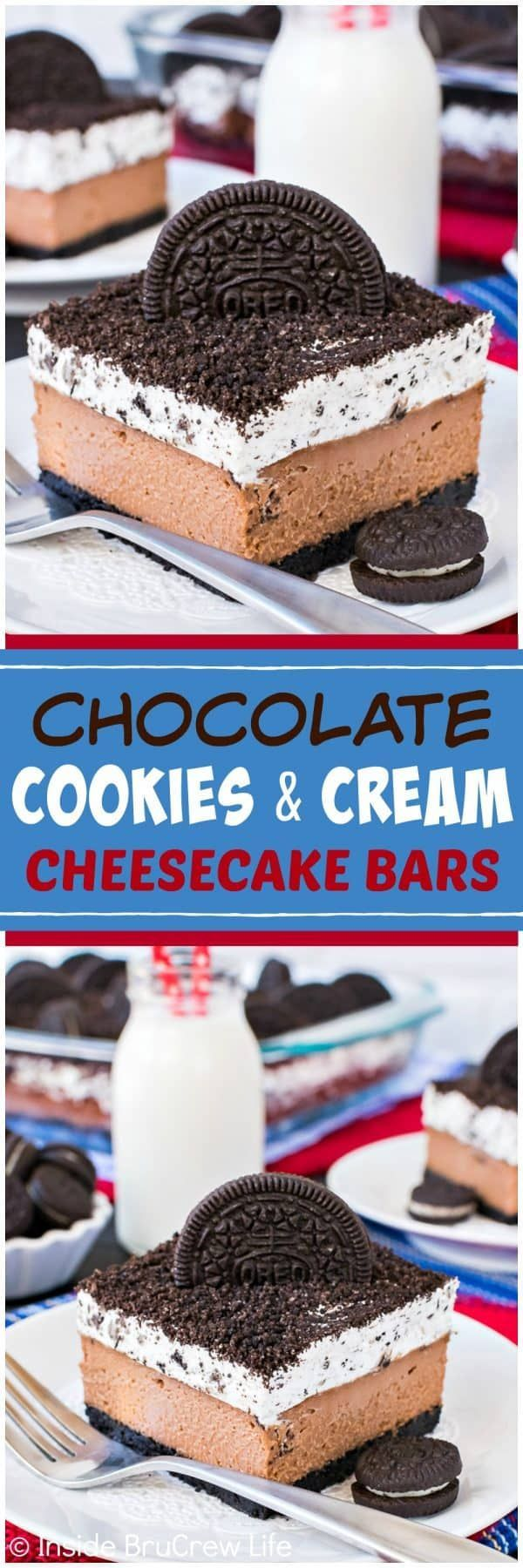 Chocolate Cookies and Cream Cheesecake Bars - layers of creamy chocolate cheesecake and a fluffy cookies and cream mousse will make this disappear in a hurry. Great recipe to share for dessert! #chocolate #cheesecake #oreo #cookiesandcream #dessert