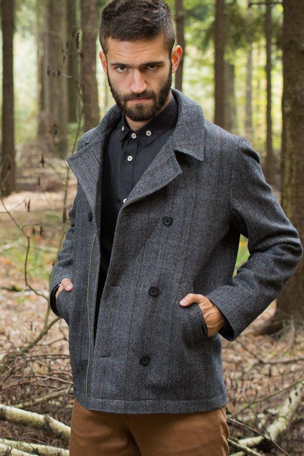 Woodears - pánský vlněný kabát