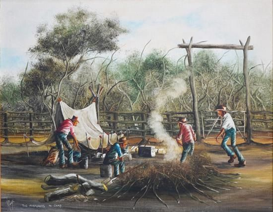 MAX MANNIX (1939-), 'The Musterers in camp', oil on board, s