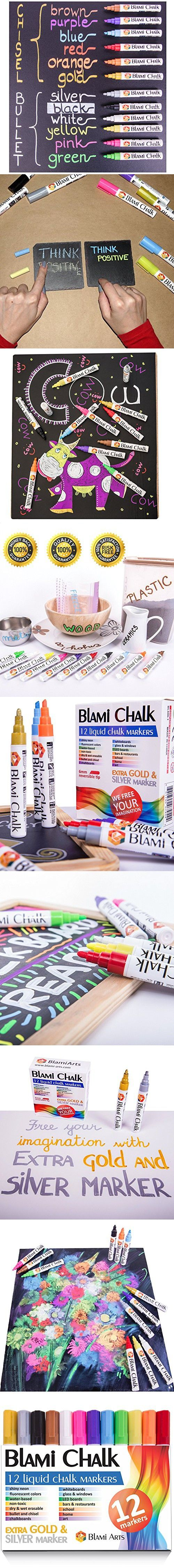 Blami Arts Chalk Markers with FREE gold and silver ink pen. Set of 12 shiny neon liquid chalk pens with reversible bullet and chisel fine tip. Free Your Imagination with chalkboard markers Now!