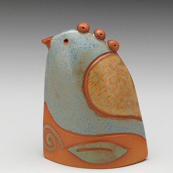Ceramic bird handmade home decorearth colors gift by DavisVachon, $36.00
