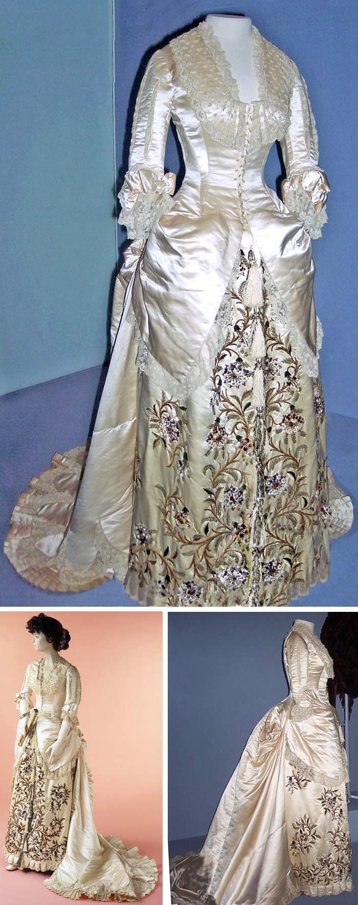 Worth evening dress, circa 1881. Pale pink silk satin, Princess-lined, with pearl embroidery and machine-made lace. Boned bodice is seamed and gored for a molded fit. It extends into drapes at the hips and merges with train, which falls in inverted pleats from bodice seams. Skirt hooped at inside back, with tapes for adjustment, to create bustle effect. Elbow-length sleeves slightly puffed; slits filled with cream machine-made lace. Via Victoria & Albert Museum and National Education…