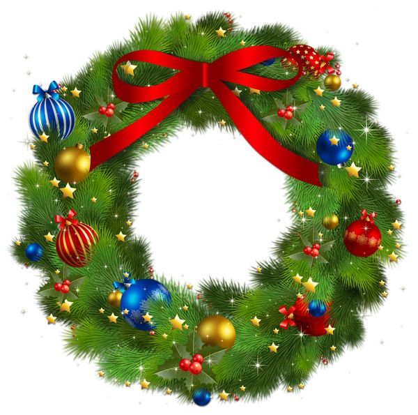 Transparent christmas pine wreath with red bow png picture