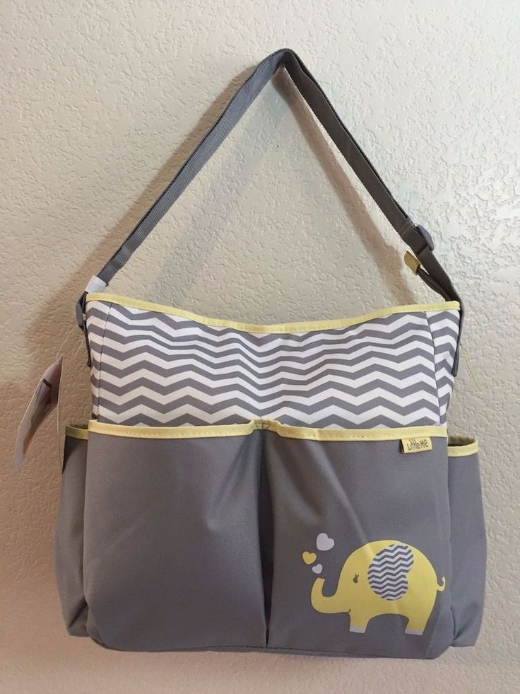LITTLE ME Tote Diaper Bag Little Elephant Grey/Yellow Changing Pad Side pockets. #LittleMe