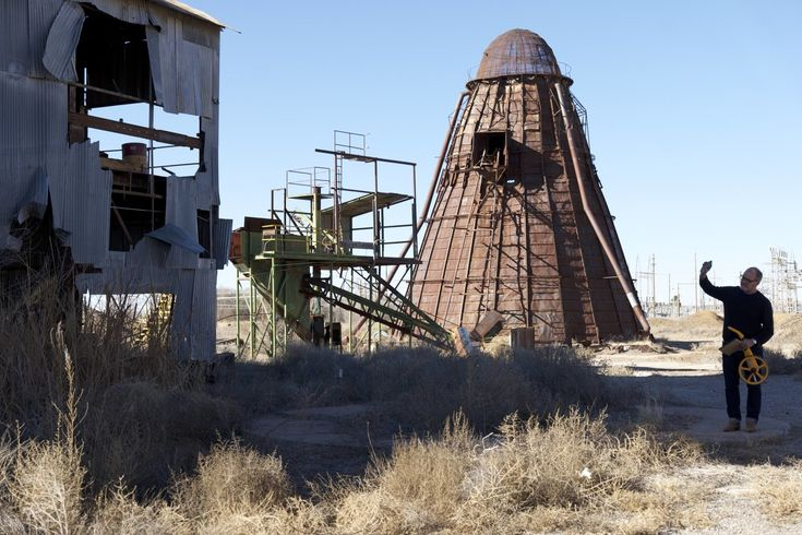 While scouting filming locations in New Mexico, Audouy came across an abandoned lumber mill, and was struck by the beehive burner on site (below).