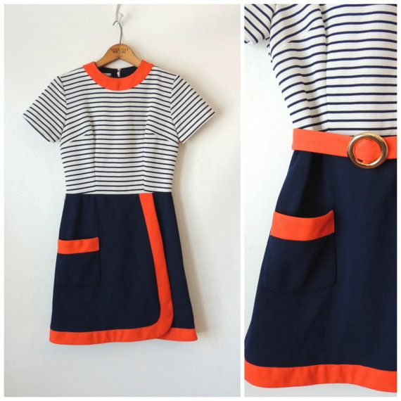 60s Mini Dress / Orange Navy Blue and White Stripe Mini Dress / Knit Polyester Dress 60s Mod / Belted Faux Wrap Dress / A La Mode / Small XS on Etsy, $73.50