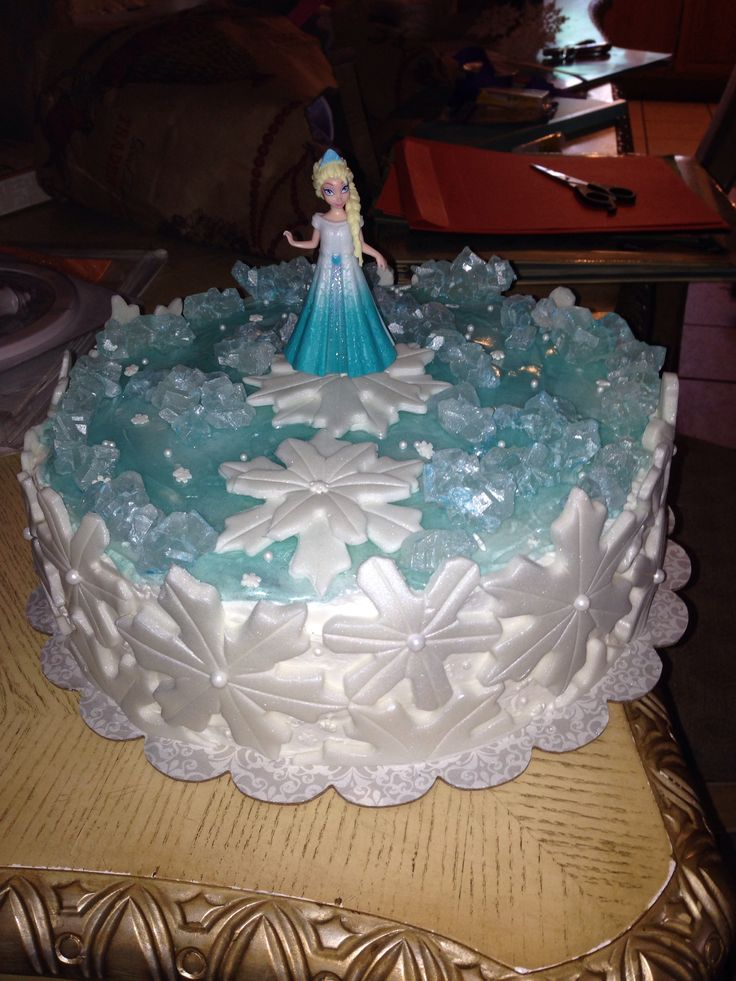 Birthday Cake Ideas Disney Frozen : Disney Frozen themed cake. Edible rock candy, pipping gel ...